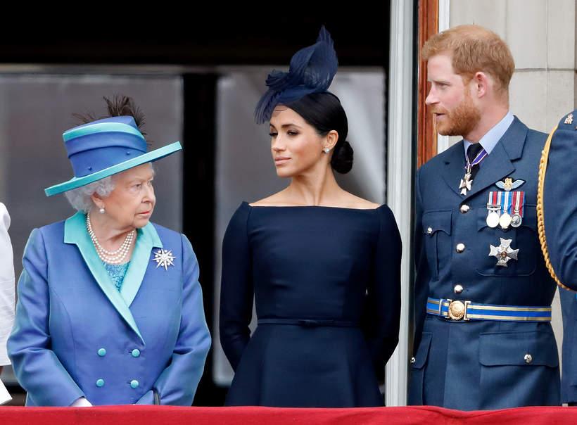 Królowa Elżbieta II, księżna Meghan, książę Harry