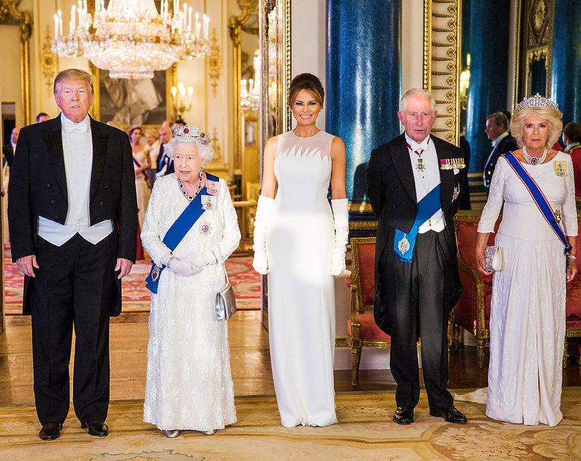 królowa Elżbieta II, Melania Trump, Donald Trakrólowa Elżbieta II, Donald Trump, Melania Trump, książęKarol, księżna Camilla
