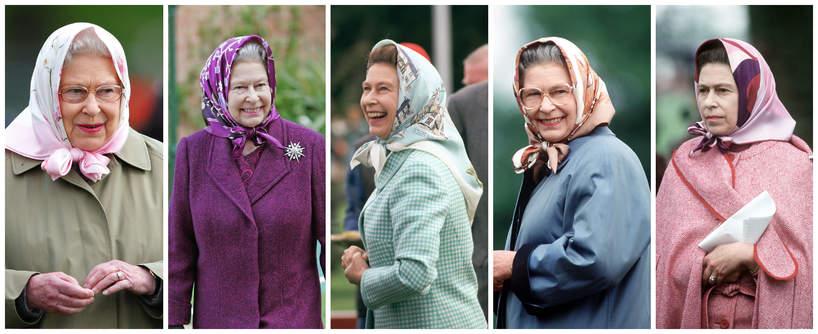 królowa Elżbieta II stylizacje, chustki królowej Elżbiety II