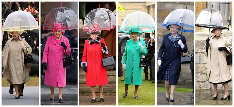 królowa Elżbieta II stylizacje, parasolki królowej Elżbiety II
