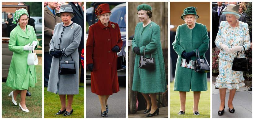 królowa Elżbieta II stylizacje, torebki królowej Elżbiety II