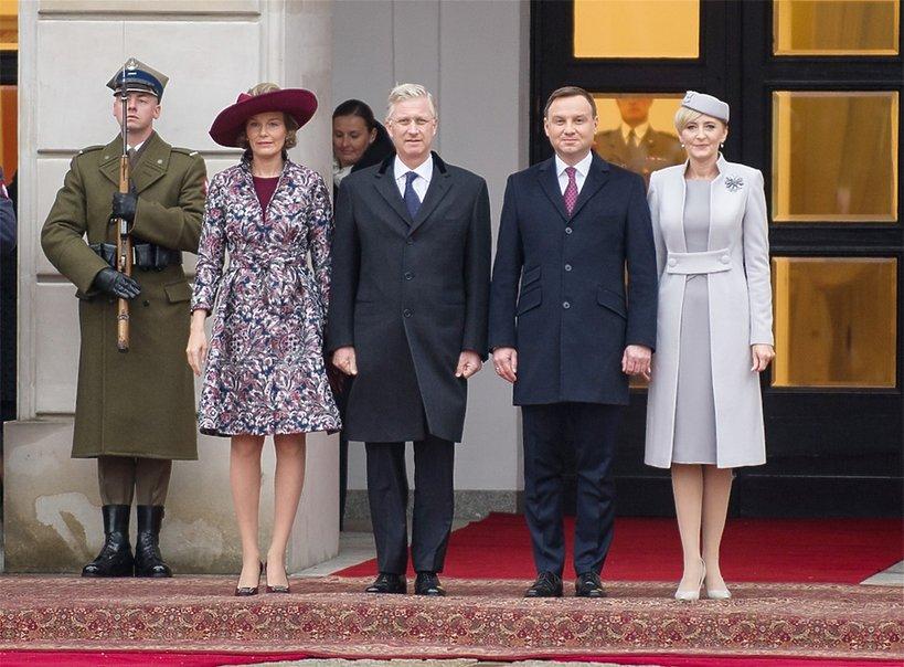 Królowa Matylda, król Filip, prezydent Andrzej Duda z żoną