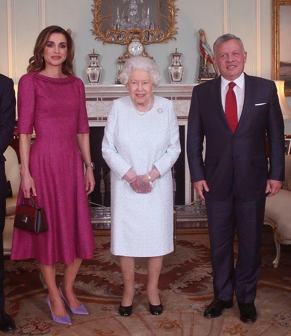 Królowa Rania, królowa Elżbieta II, król Abdullah