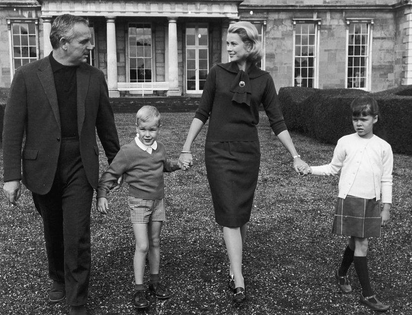 Książę Albert, księżna Grace Kelly, książę Rainier