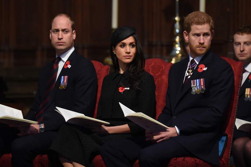 Książę William, księżna Meghan, książę Harry