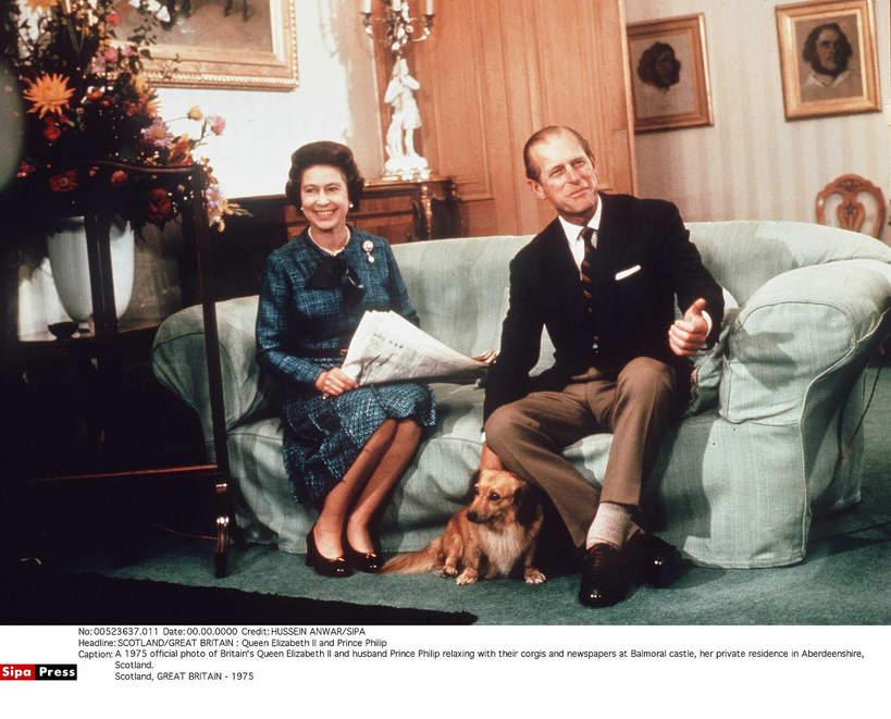 KsiążęFilip, królowa Elżbieta II 1975 rok
