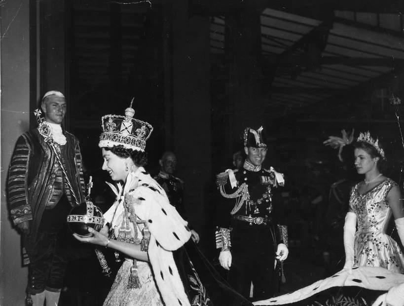 KsiążęFilip, królowa Elżbieta II koronacja