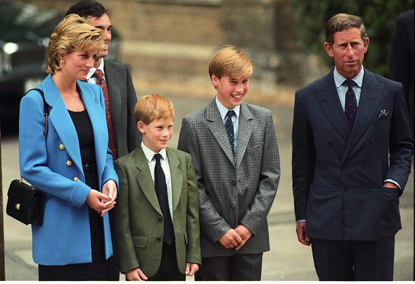 Księżna Diana, książę Karol, książę William, książę Harry