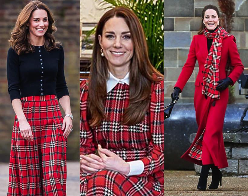 Księżna Kate stylizacja w kratkę trendy zima 2021