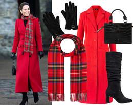 Księżna Kate w modnym czerwonym płaszczu. To idealny look, nie tylko na Święta!
