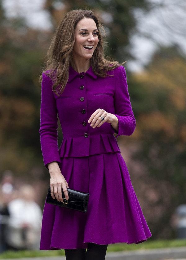 Księżna Kate w fioletowej sukience, księżna Kate 2019