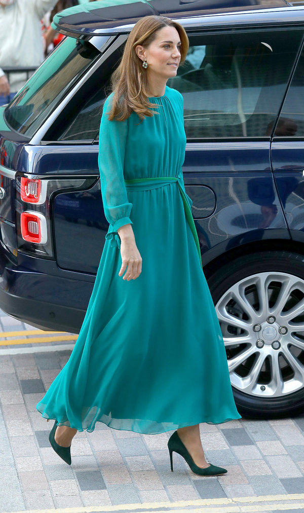 Księżna Kate w szmaragdowej sukni 2019