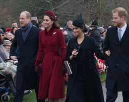 księżna Kate z księciem Williamem i księżna Meghan z księciem Harrym