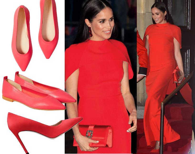 Księżna Meghan, czerwone buty 2020