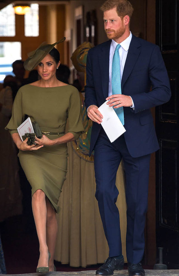 księżna Meghan i książę Harry, chrzest księcia Louisa, 2018