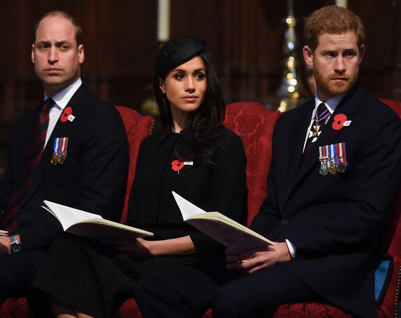 Księżna Meghan, książę Harry, książę William
