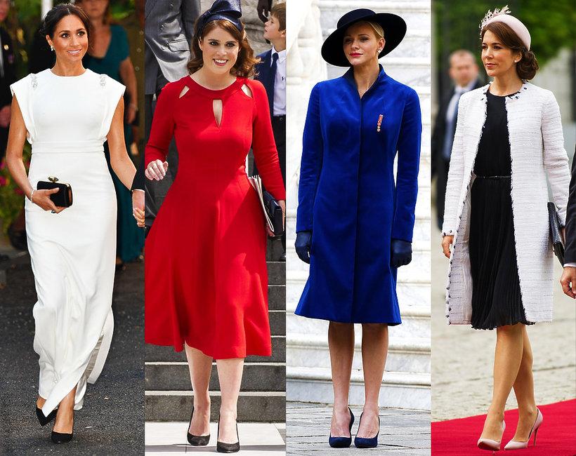księżne stylizacje, Księżna Meghan, księżna Charlene, księżniczka Eugenia, księżna Mary