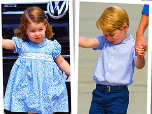 Księżniczka Charlotte, książę George, księżę William i księżna Kate