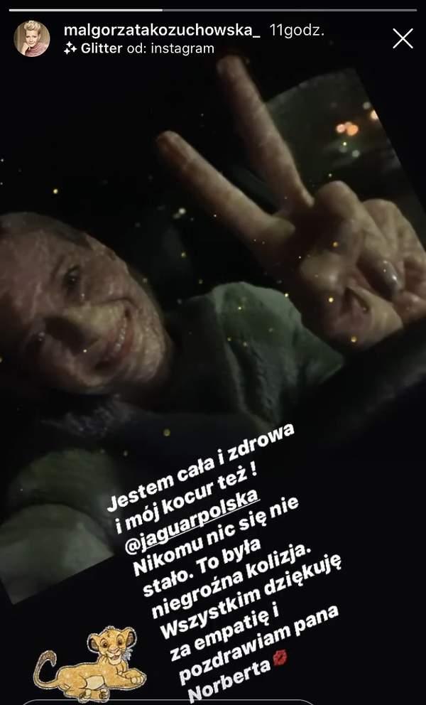Małgorzata Kożuchowska po wypadku