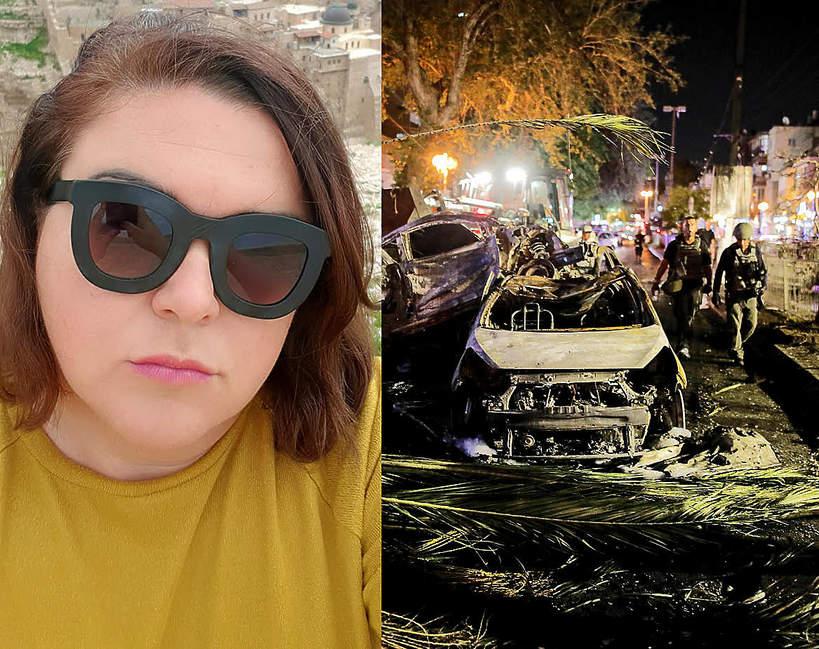 Małgorzata Kurzajewska i samochód spalony podczas ataku rakietowego w Tel Awiwie
