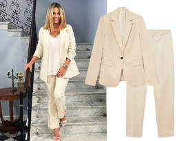 Małgorzata Rozenek w modnym garniturze. Podobny elegancki zestaw kupisz na wyprzedaży w Mango!
