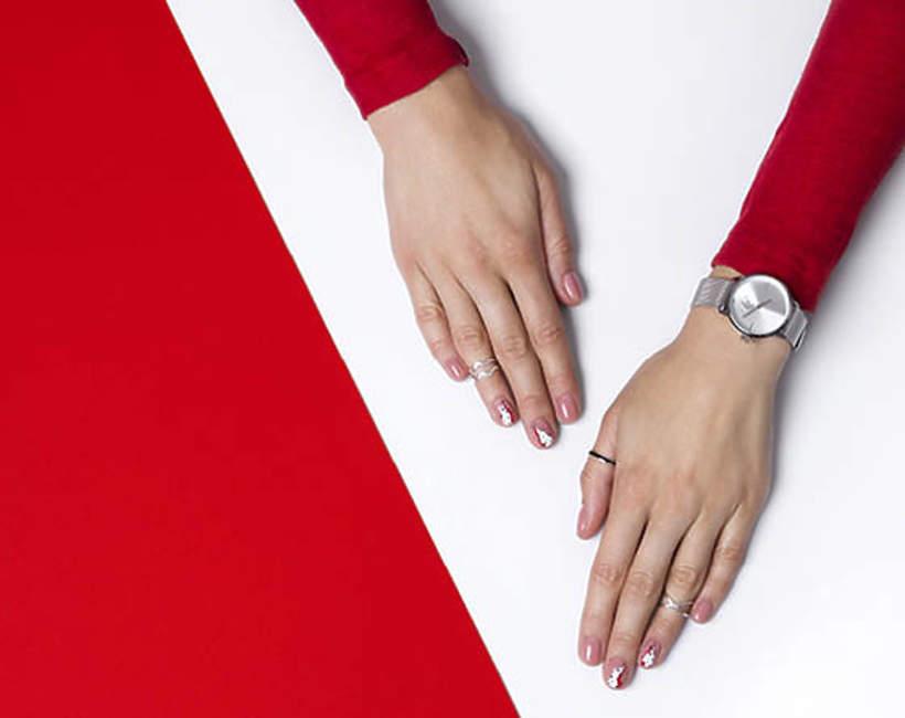 manicure kropki, efekt kamienia