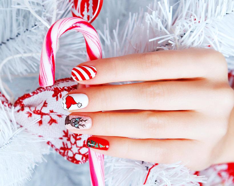 manicure na Mikołajki i na święta