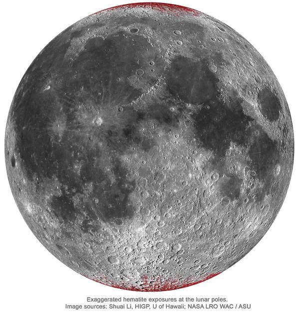 Mapa śladów hematytu na widocznej stronie Księżyca