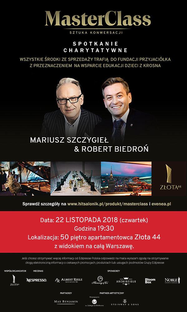 Masterclass Robert Biedroń i Mariusz Szczygieł