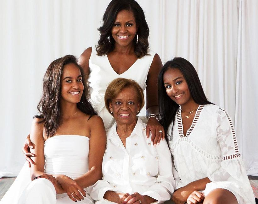 Michelle Obama z córkami i mamą