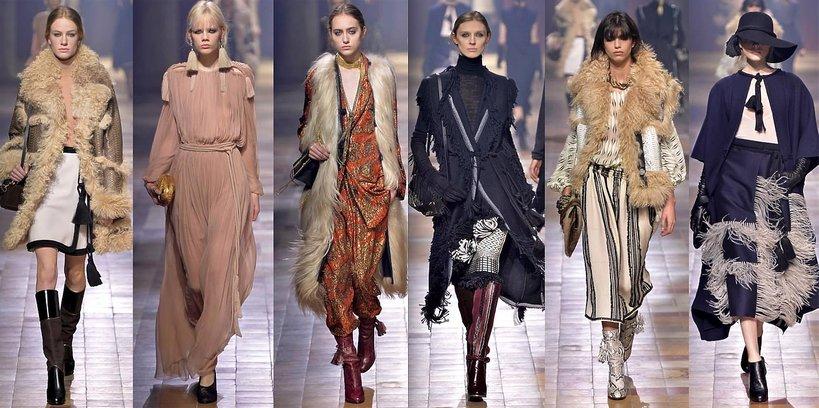 Modelki na pokazie mody Lanvin jesień-zima 2015-16