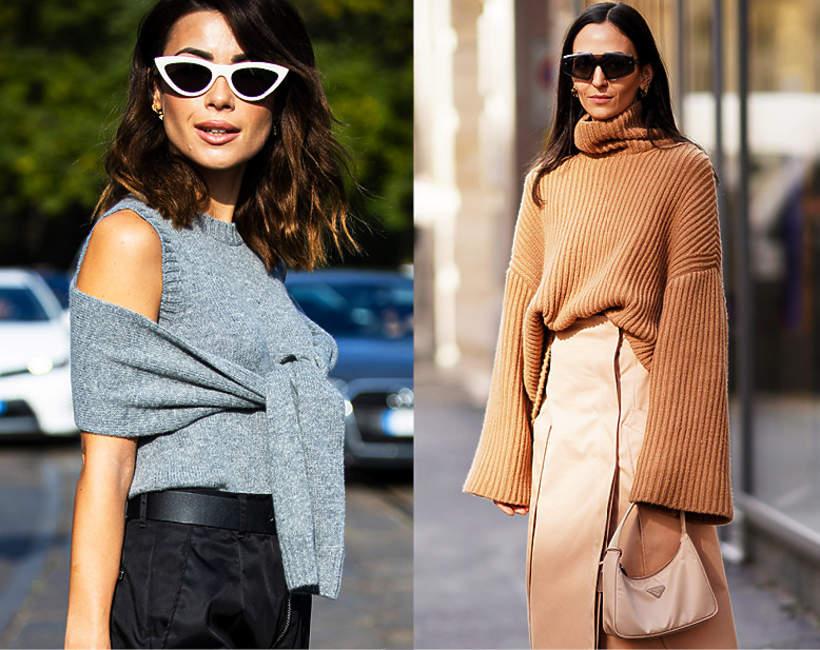 Modne trendy na wiosnę 2021. Beżowe i szare swetry to hit sezonu