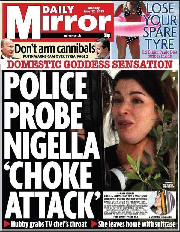 Nigella Lawson, okładka Daily Mirror z 2013 roku