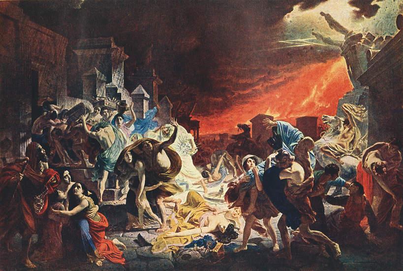 Obraz przedstawiający zagładę Pompejów