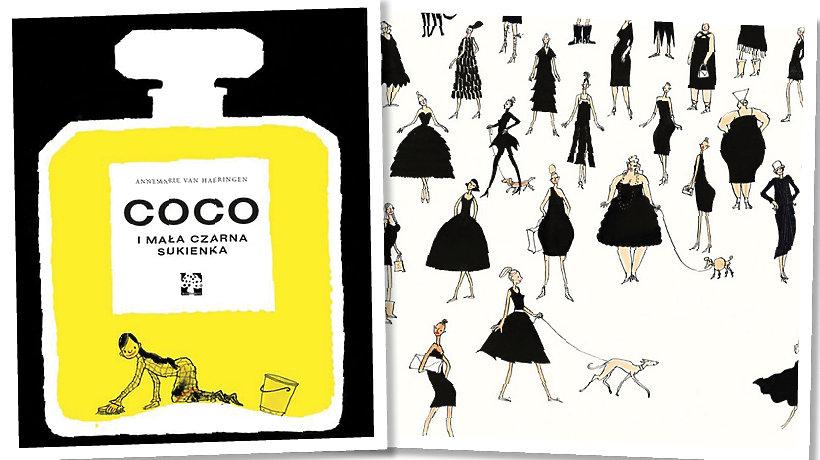 Okładka książki Coco i ryzunek z dużą ilością czarnych sukienek