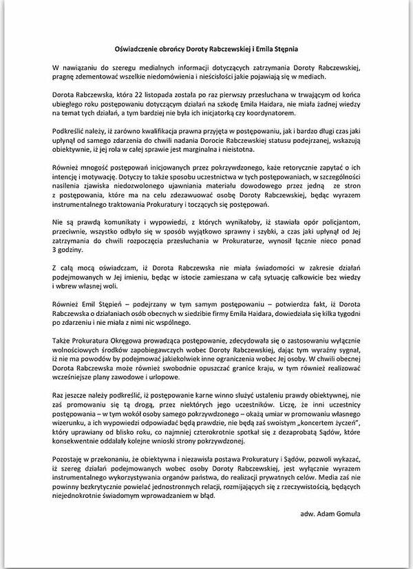 oświadczenie adwokata Dody