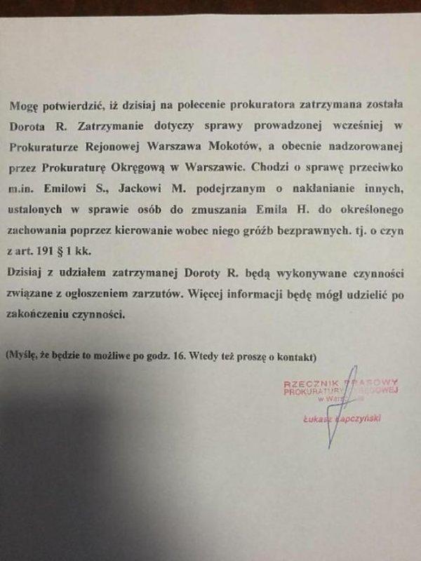 Oświadczenie prokuratury