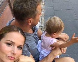 Paulina Sykut-Jeżyna z mężem i córeczką, Różą