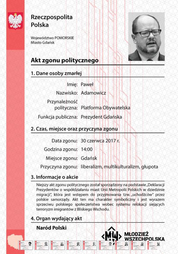 Paweł Adamowicz, akt zgonu politycznego