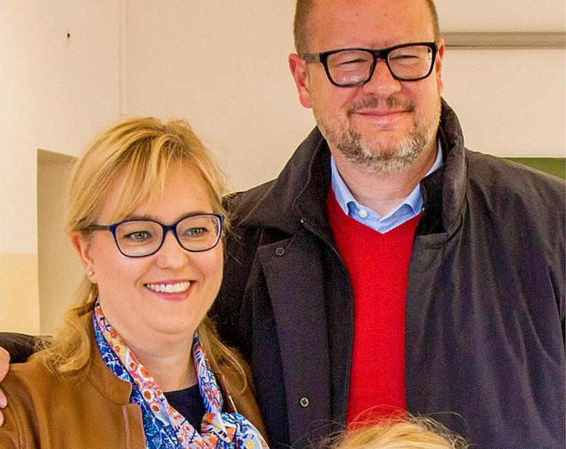 Paweł Adamowicz, prezydent Gdańska, z żoną i córką