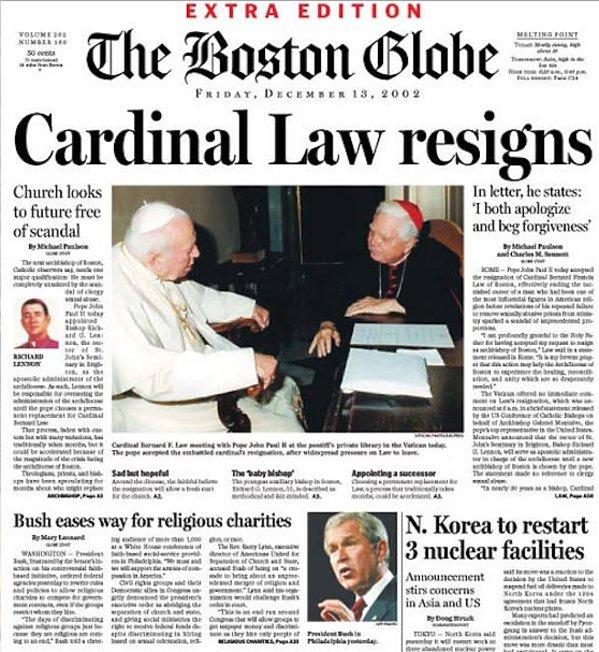 Pierwsza strona Boston Globe z 2002 roku