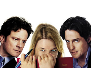 plakat filmu Dziennik Bridget Jones. Colin Firth, Renee Zellweger, Hugh Grant