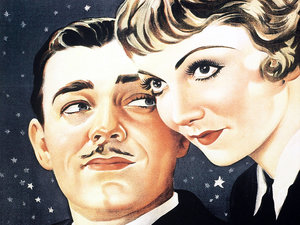 plakat filmu Ich noce. Clark Gable, Claudette Colbert