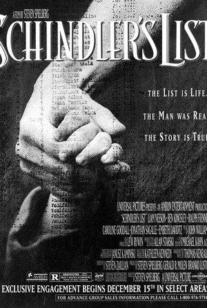 plakat filmu Lista Schindlera. Steven Spielberg