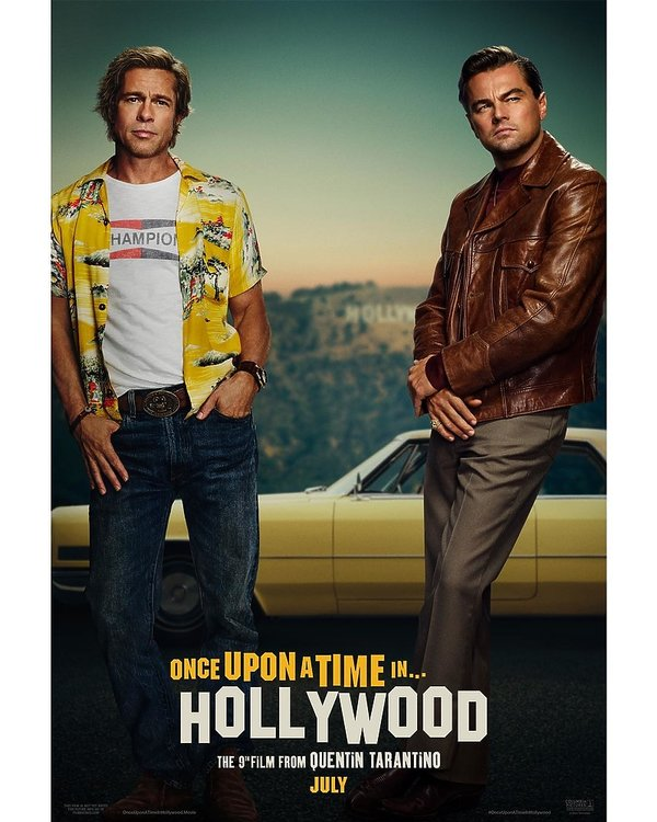 Plakat filmu Once Upon a Time in Hollywood, Leonardo DiCaprio i Brad Pitt