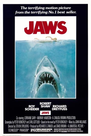 plakat filmu Szczęki. Steven Spielberg