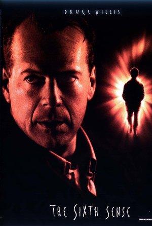 plakat filmu Szósty zmysł. Bruce Willis, M. Night Shyamalan