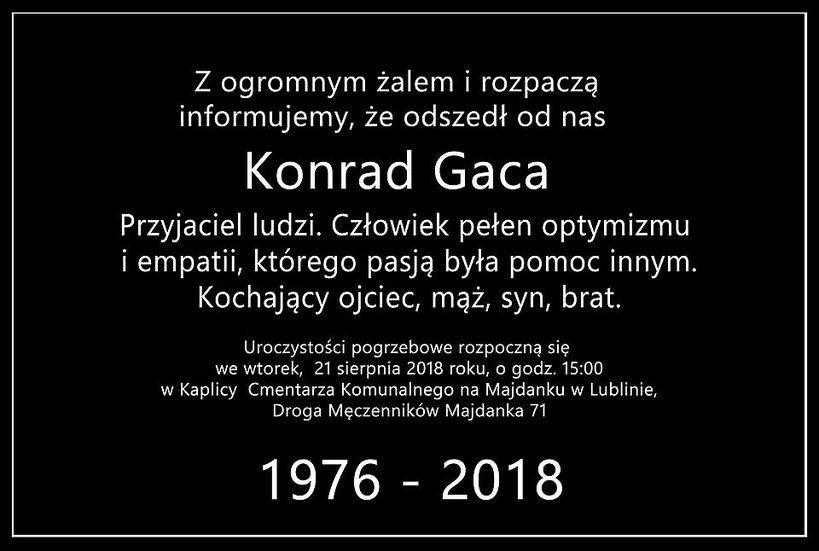 pogrzeb Konrada Gacy, oficjalne oświadczenie