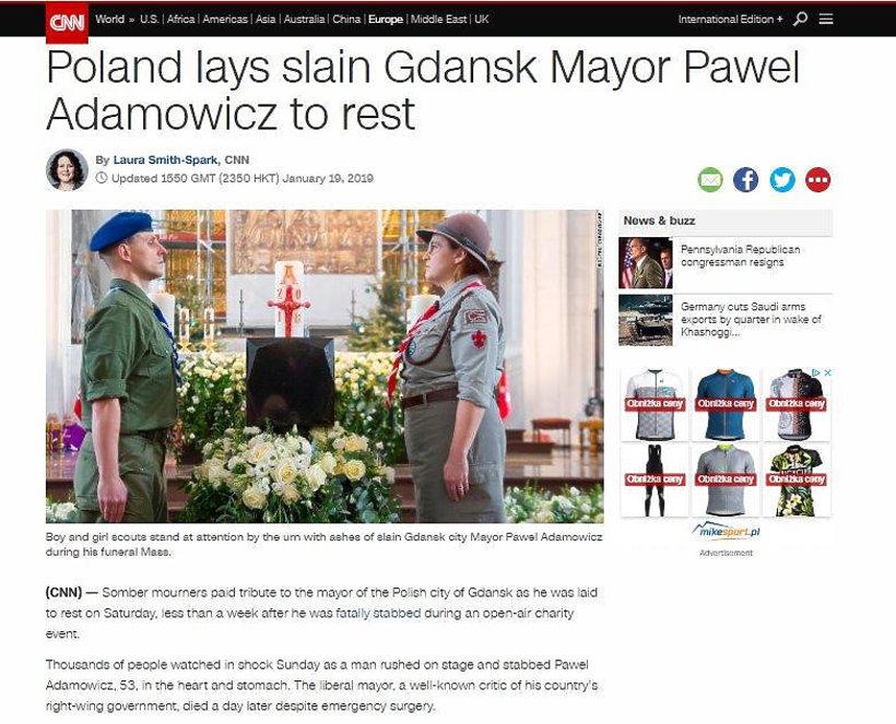 pogrzeb Pawła Adamowicza, zagraniczne media o pogrzebie