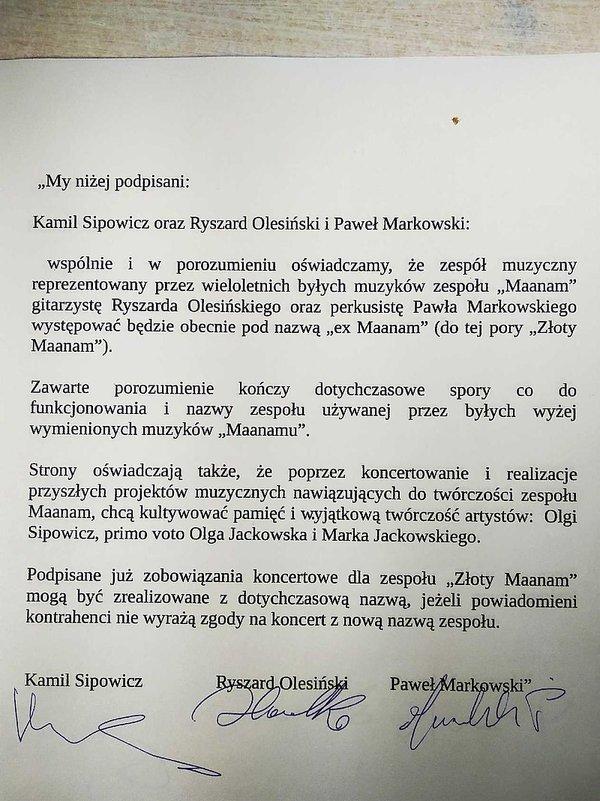 Porozumienie między Kamilem Sipowiczem a Ex Maanamem